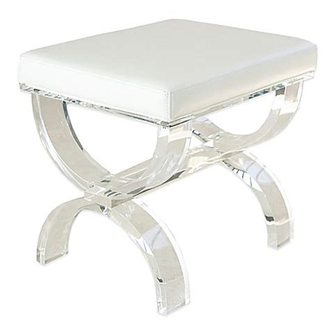 modern vanity bench buy taymor 174 urban modern acrylic vanity bench from bed