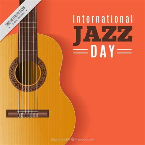 guitar background orange jazz background with guitar vector free