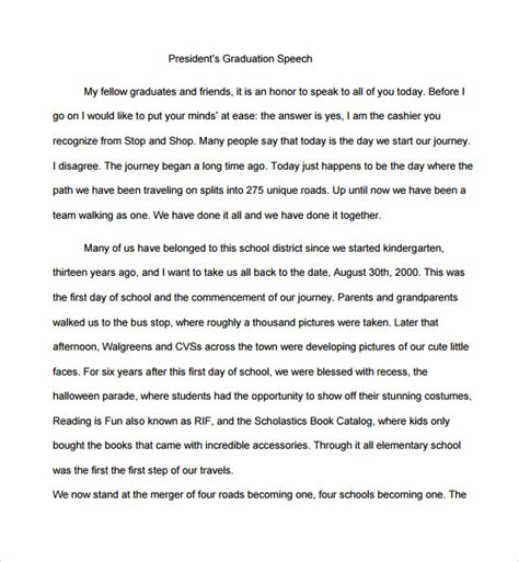 Graduation Speech Template sle graduation speech exle template 10 free