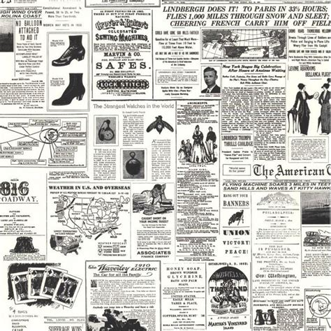 black and white novelty wallpaper kw7620 vintage newspaper print wallpaper discount