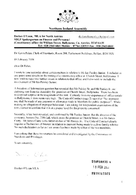 Complaint Letter Mla Format Northern Ireland Assembly Committee On Standards And