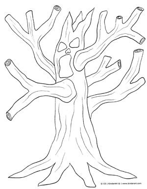 spooky tree coloring page spooky tree coloring page kinderart