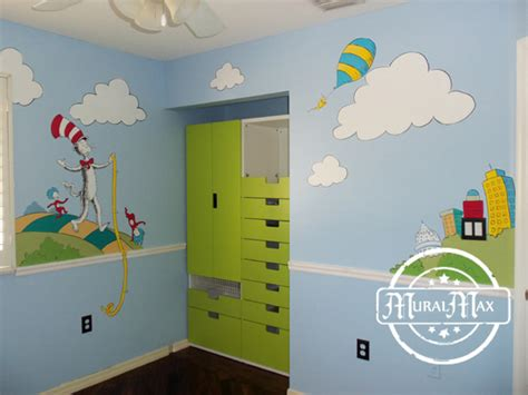dr seuss bedroom decor murals dr seuss cat in the hat and lorax nursery wall