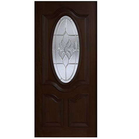 Oval Glass Doors Door 30 In X 80 In Mahogany Type 3 4 Oval Glass Prefinished Antique Beveled Zinc Solid