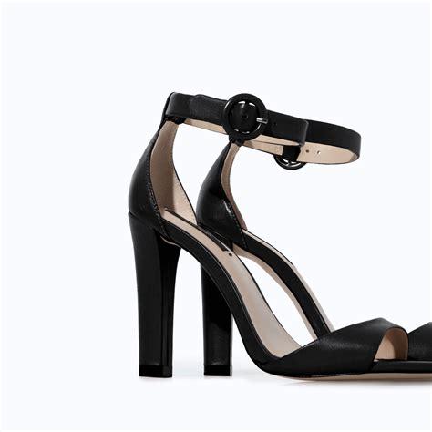 zara heeled sandals zara leather wide heel sandal in black lyst