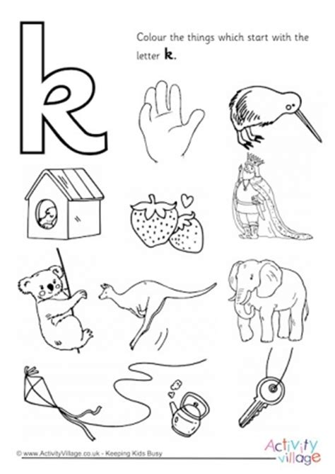 colors that start with k start with the letter a colouring page