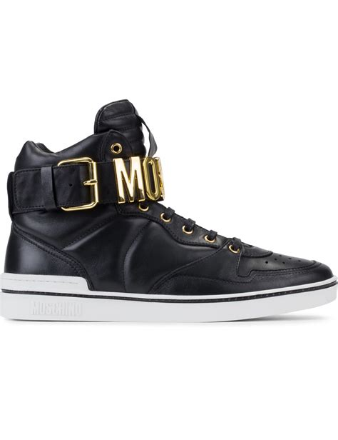 moschino sneakers mens moschino black leather logo high top sneakers in black for