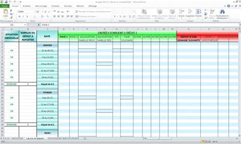 Calendrier Budget Familial Calculateur Automatique Pour Budget Personnel