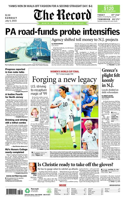 Bergen County Nj Records Newspaper Front Covers Ahead Of S World Cup Photos World Soccer Talk