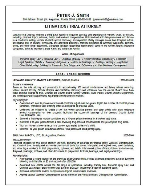 Juris Doctor Resume by Trial Attorney Resume Exle Resume Exles Resume