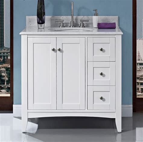 shaker americana 36 quot vanity drawer right polar white
