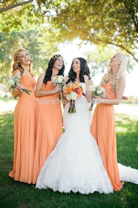 light orange bridesmaid dresses free shiping charming light orange floor length pleat