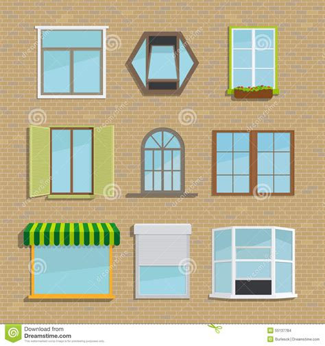 different styles of windows when building a house set of icons different types windows stock vector illustration of background