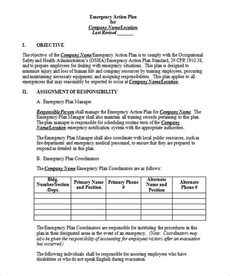emergency plan template emergency plan template 15 free word excel pdf