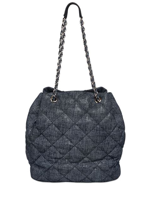 Tas Denim Kolese Denim Suede lyst ferragamo genny quilted denim effect suede bag in blue