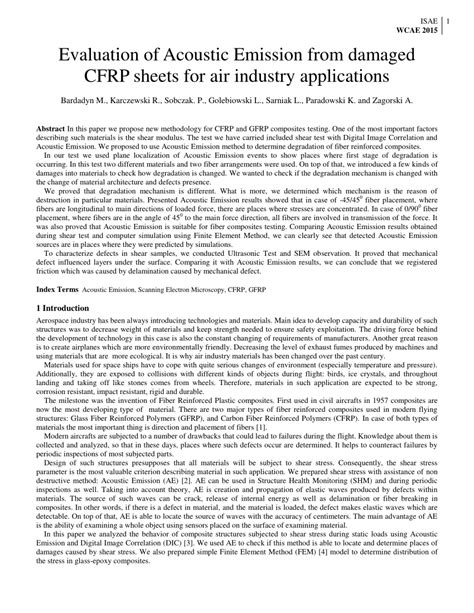 (PDF) Evaluation of Acoustic Emission from Damaged CFRP