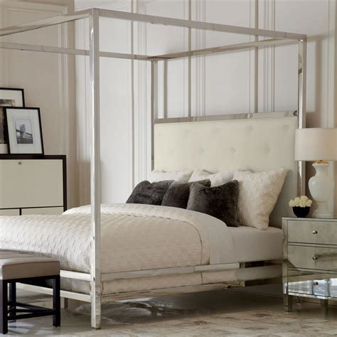 white four poster bed polly modern steel white leather four poster bed queen kathy kuo home