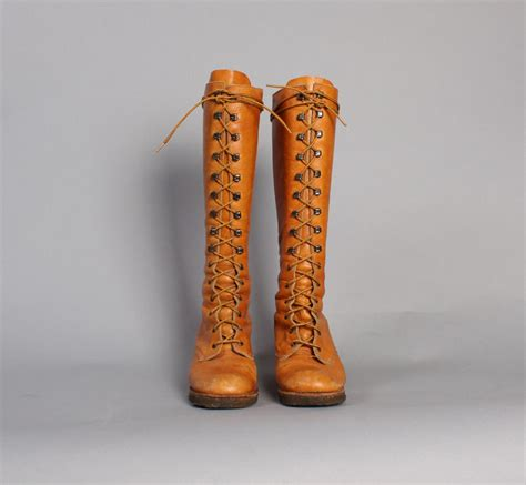hippie boots 60s lace up hippie boots golden brown boho knee boots