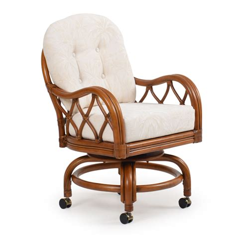 Swivel Tilt Dining Chairs Jamaica Rattan Swivel Tilt Caster Dining Chair Leaders Casual Furniture