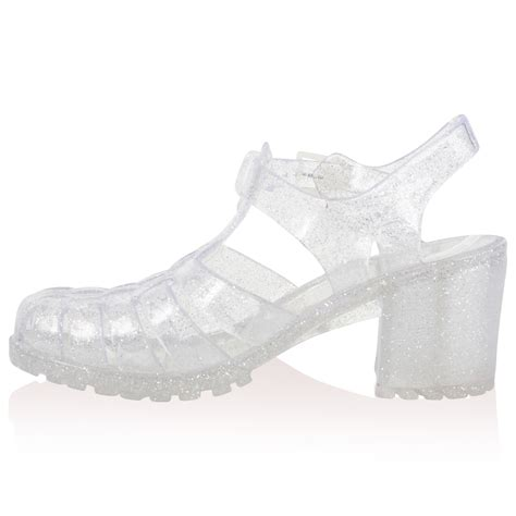 clear jelly sandals womens clear glitter heel summer cut out sandals