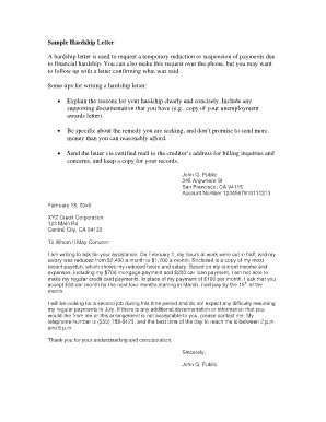 Hardship Letter Sles Fill Online Printable Fillable Blank Pdffiller Irs Hardship Letter Template