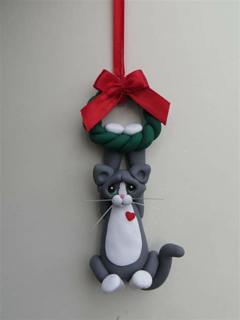 gray tuxedo cat christmas ornament polymer clay cute
