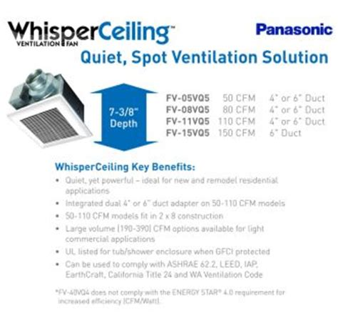 panasonic 0 3 sone 110 cfm white bathroom fan panasonic fv 11vq5 white whisperceiling 110 cfm 0 3 sone