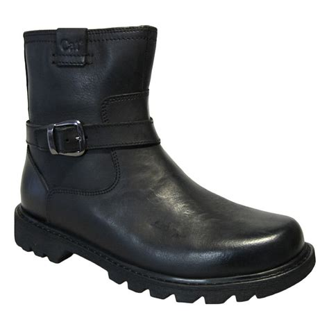 ladies ankle biker boots womens ladies caterpillar cat everyday black leather 6