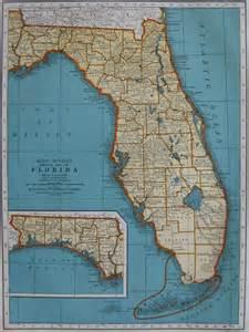 1938 vintage florida map beautiful color 1930s antique map