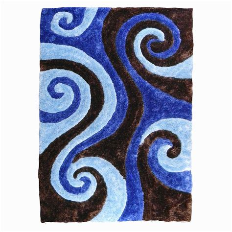 Swirl Area Rug by Donnieann 3d Shaggy Abstract Swirl Design Chocolate 5 Ft