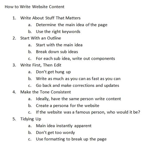 How To Make An Outline For A Research Paper Exles - how to write content for a website digital marketing