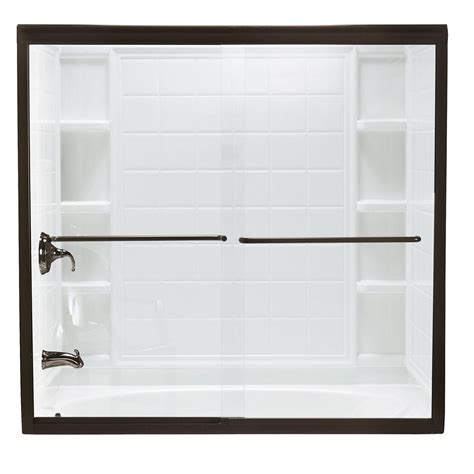 Sterling Finesse Frameless Shower Door Sterling Finesse 59 5 8 In X 58 1 16 In Semi Frameless Sliding Shower Door In Bronze With