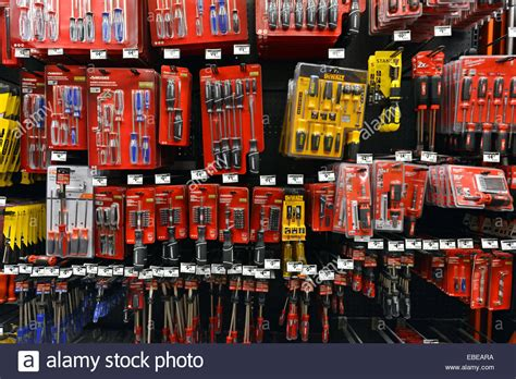 a display of small tools for sale at a home depot