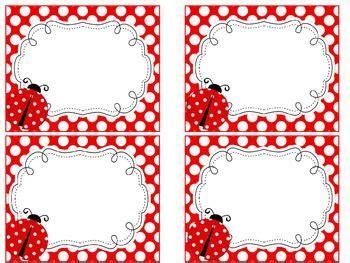free printable ladybug name tags ladybug theme name tags and labels etiquetas nomes e