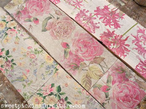 sweet pickins napkins on wood floral wood tutorial