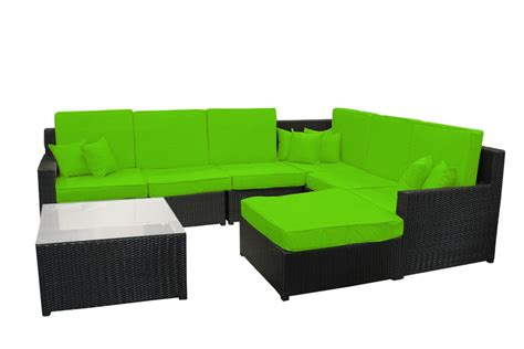 Sectional Sofa And Ottoman Set 8 Black Resin Wicker Outdoor Furniture Sectional Sofa Table And Ottoman Set Lime Green