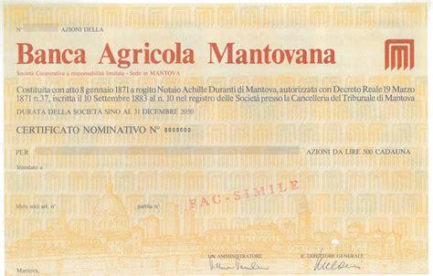 agricola mantovana filiali agricola mantovana titolo finanziario storico