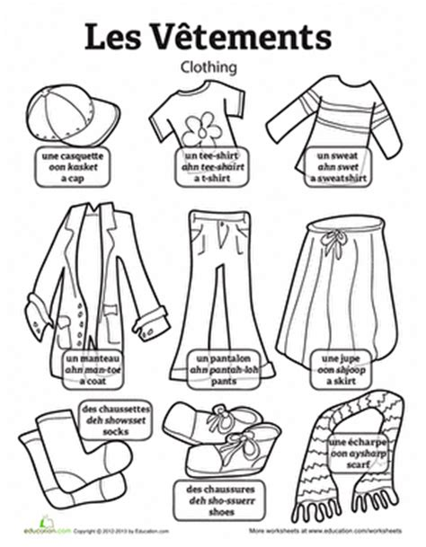 coloring pages with french words clothes in french worksheet education com