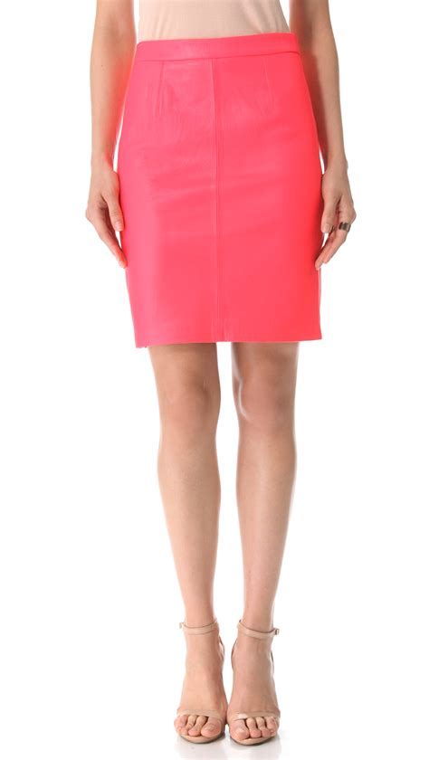 milly leather pencil skirt in pink lyst