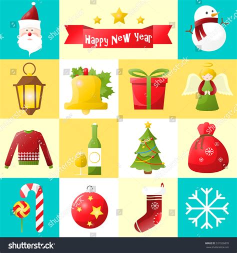 new year collection zalora new year icons set collection stock vector