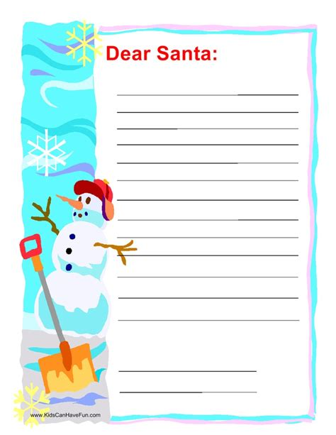 Dear Santa Card Template by Dear Santa Letter With Snowman Activities With