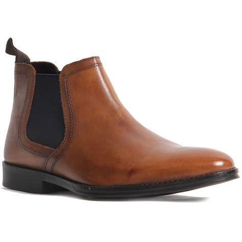 mens slip on genuine leather chelsea boot western heel