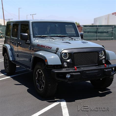 Headlights For Jeep Wrangler 7 Quot Black Clear Halo Led Drl Projector Beam Headlights