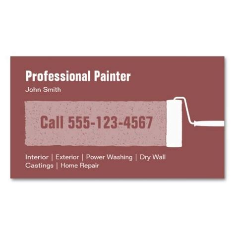 painter business card template professional painter business card template card