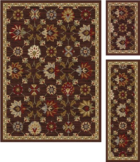area rug and runner sets brown vines petals stems bordered floral 5458 area rug runner 3 set ebay