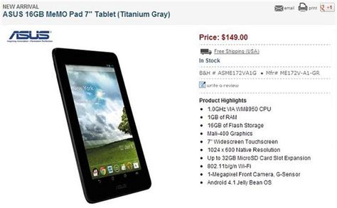 android tablet price asus memo pad 7 inch android tablet now available in u s for 149 zdnet