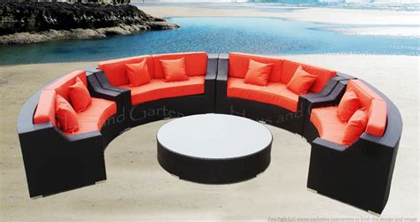 round patio sofa round outdoor wicker sectional sofa patio furniture set ebay