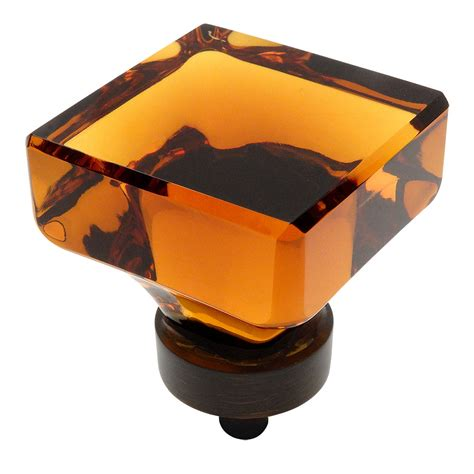 glass and bronze cabinet knobs cosmas 6377orb a oil rubbed bronze amber glass square