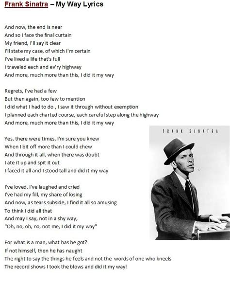 lyrics frank sinatra frank sinatra my way lyrics to songs poems