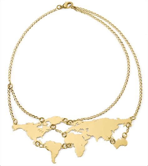 World Map Statement Necklace jewels gold necklace statement necklace map print